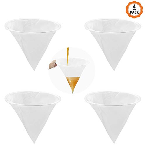 4 Stück Honigfilter, Imkerei Sieb Honig Filter aus Nylon mit Metall Kreis Kegelförmiger Honigfilter Werkzeug für Honigverarbeitung/Extraktion und Filter