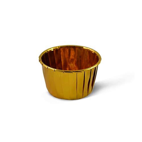 SimpleGood Gold Einweg-Aluminiumfolie Backtassen Ramekins für Muffins Muffins Walzrand - 50
