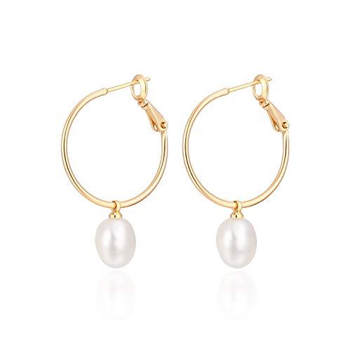 Gold Huggie Hoop Earrings with Charms Fashion Pearl Drop Dangle Earrings for Women Handmade Karma Circle Jewelry for Ladies Lightweight Pearl Earrings on Christmas