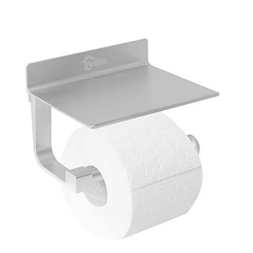 Livela Toilettenpapierhalter ohne bohren anzubringen – WC Rollenhalter aus hochwertigem Aluminium mit mattem Finish – selbstklebender Toilettenrollenhalter mit extra starkem Montagekleber