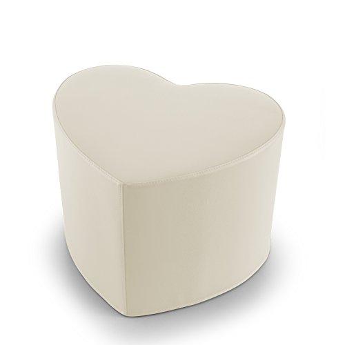 EXTOITALY Coeur Beige Pouf en Cuir synthétique Adapté à séance mis.50 x 41 h.41 cm. Déhoussable Disponible en 10 Couleurs intérieur en polyuréthaneNome articolo (Titolo)