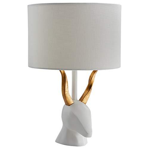 Amazon Brand – Rivet Modern Deer Head Ceramic Lamp With Bulb, 19.5'H, White and Brass