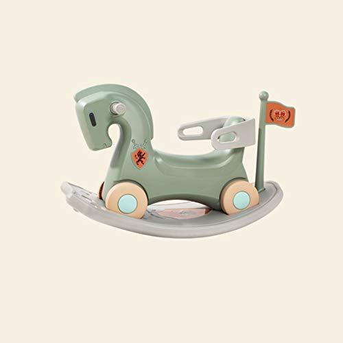 LINGZHIGAN Enfants Toy Double But bébé Year Old Cadeau Cheval de Troie bébé Rocker Scooter (Color : Green)