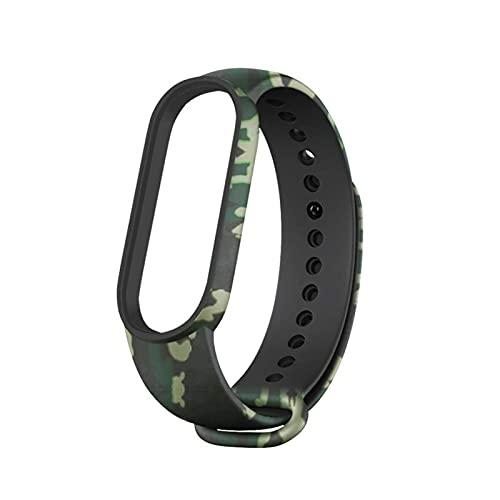 HENHEN Jun Store Pulsera Fit for MI Band 4 5 6 3 Silicone Military Strap Fit para Xiaomi MI Band 6 5 4 3 Sports Strap Band Fit para MIBAND 3 4 5 6 Banda del ejército