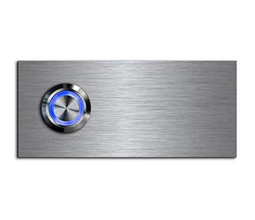 CHRISCK Design - roestvrij stalen deurbel Basic 9x4 cm rechthoekig met een bel-knop/LED-verlichting en mooie decoratieplaten van acrylglas naamplaat/belplaat