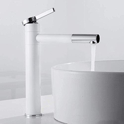 Grifo de baño blanco, grifo de pie alto, grifo de agua fría y caliente, grifo de latón monomando, accesorios de baño