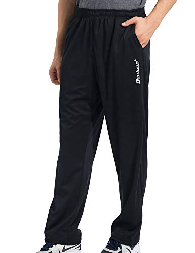 Duuluup Mens Sweatpants with Pockets Open Bottom Athletic Yoga Pants Loose Fit Active Jogger Pants (Black with Pocket,L)