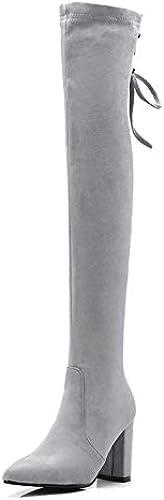 HOESCZS 2019 Femmes Au Genou Bottes De Mode Femmes Chaussures Plate-Forme Sabot Talons Bottes d'hiver Décontracté Femmes Bottes Grande Taille 34-43