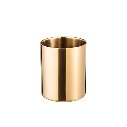 IMEEA Gold Pen Cup Pencil Holder Stainless Steel Makeup Brush Holders for Vanity Desk Accessories