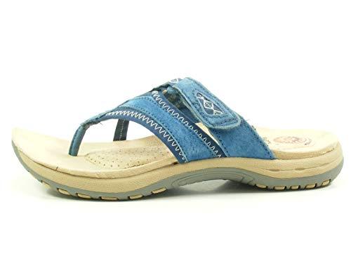 Earth Spirit Juliet Schuhe Damen Pantoletten Zehentrenner Nubukleder, Größe:38 EU, Farbe:Blau
