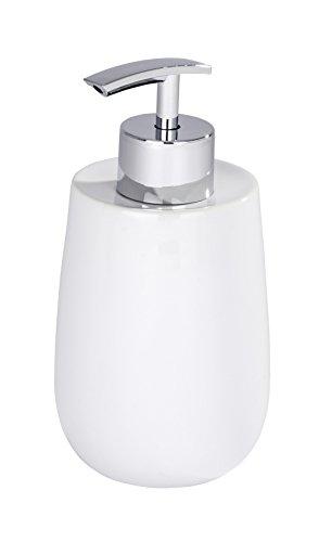 WENKO Seifenspender Malta Weiß Keramik - Flüssigseifen-Spender, Spülmittel-Spender Fassungsvermögen: 0.3 l, Keramik, 7.5 x 15 x 8 cm, Weiß