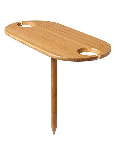 HCTESCO Picknick-Weintisch, tragbar und faltbar, Bambus, Snacktisch, für Picknick, Outdoor am Strand, Park, 2 Positionen