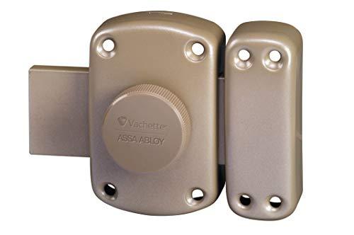 Vachette 64200/SC Verrou PLUTON à bouton et cylindre 5 goupilles diamètre 23 mm, longueur 45 mm, 3 clés, gris