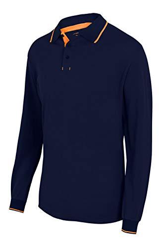 Velilla 105515 61/19 - A.NAVY/N.FLUOR L - Polo bicolor con raya manga larga Azul Navy Talla L