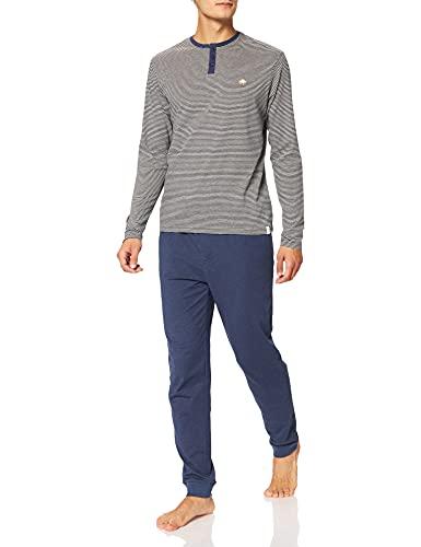 Springfield Pijama Camisetas Rayas Juego, Azul Oscuro, L para Hombre