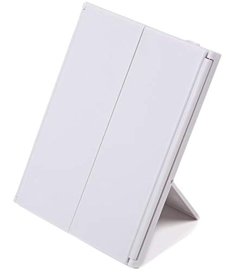 知らせるスナッチ組み込む化粧鏡 折り畳み (LED付き三面鏡, ホワイト)
