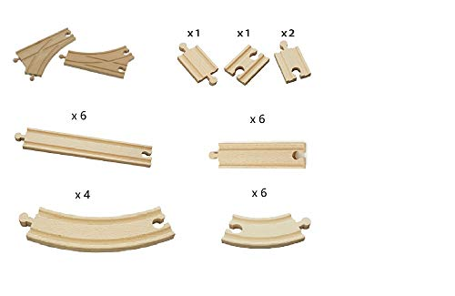 Fun World Toys Wooden Train Track Expansion Pack - 28 pieces Compatible with Thomas Brio Bigjigs Wooden Railway Train Tracks (Standard Expansion Pack)