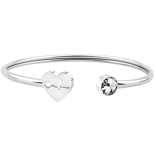 Simple Heartbeat Cuff Bracelet Nurse Bracelet Stethoscope Bracelet Gift For Nurse Doctor (Silver)