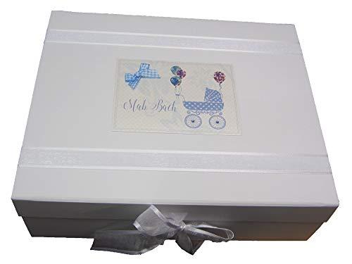 White Cotton Cards (WDTB2X) Grande boîte souvenir pour landau gallois Bleu layette