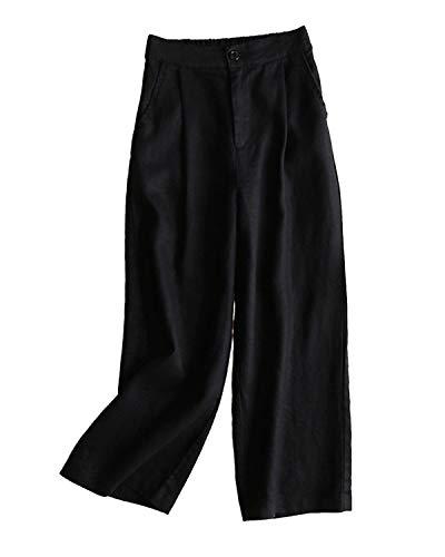 Tomwell Femme Été Décontractée Coton Lin Ample Pantalon Léger Cordon Élastique Solide Couleur Pantacourt Sport Pants 7/8 Longueur Pants Noir XXL