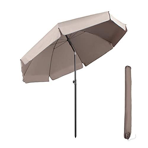 Sekey sombrilla Parasol para terraza jardín Playa Piscina Patio diámetro 217 cm Protector Solar UV25+,Taupe