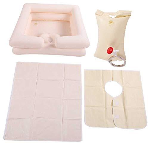 Alomejor Bassin Gonflable Aide au Bain Laver Les Cheveux dans Le lit extérieur Lavabo Pliable Portable pour Personnes âgées handicapées Grossesse Voyager