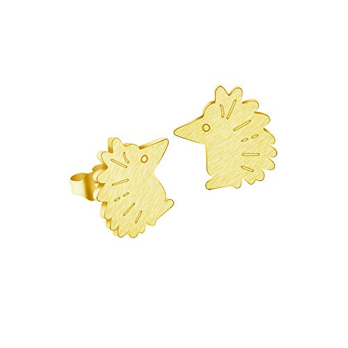 Pendientes de botón de erizo de animales bonitos para mujer, joyería de niña, pendientes de acero inoxidable de color dorado, color dorado