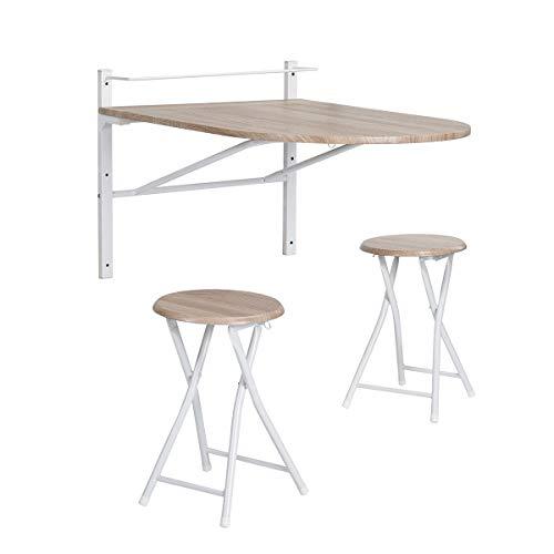Mesa de comedor, de pared, con 2 sillas plegables, para cocina