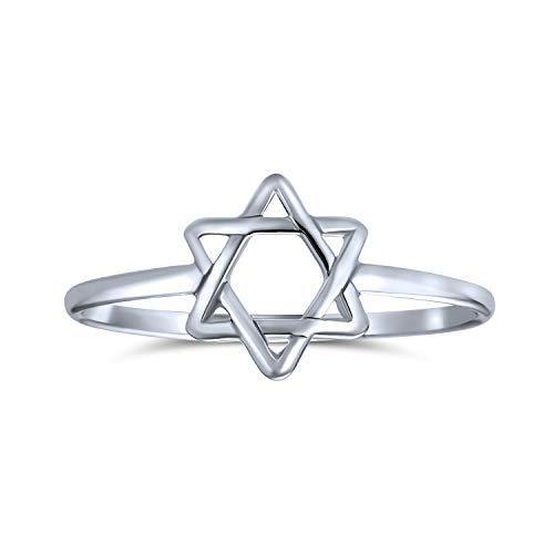 Minimalista simple Midi nudillo delgado 1mm banda apilable religiosa judaica estrella de David anillo para adolescente 925 plata de ley