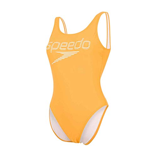 Speedo Damen Logo-Einteiler mit Streifen Tiefer Rückenausschnitt Hoher Beinausschnitt Badeanzug, Mango/Weiß, 40 (DE 44)