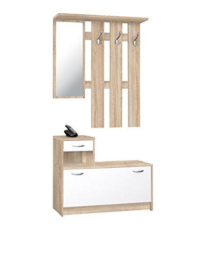 Avanti Trendstore Rudolf - Guardaroba da ingresso con specchio, 3 ganci appendiabiti e ribaltascarpe, Sonoma/Bianco, 100 x 180 x 25 cm