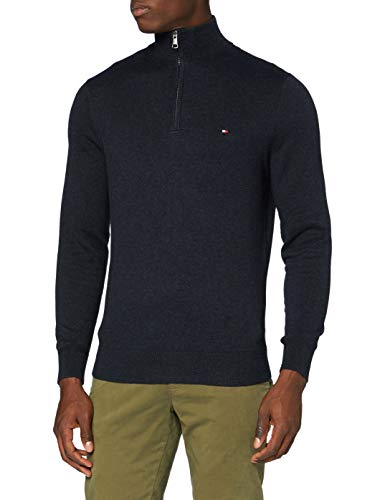 Tommy Hilfiger Pima Cotton Cashmere Zip Mock Maglione, Black Heather, M Uomo