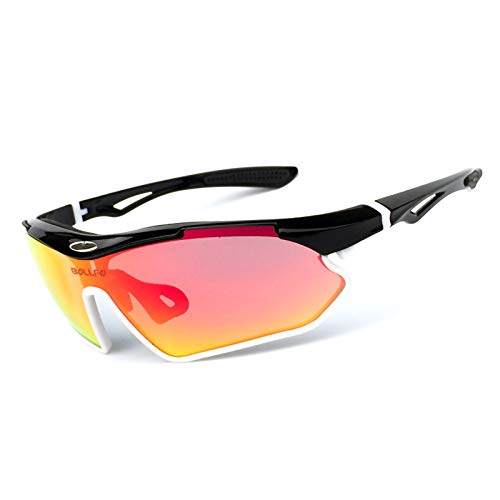 ZPL TR90 Sunglasses Polarised Sports Sunglasses Anti-UV Storage Box Reov Lenses Adjustable Nose Pads Suitable for Outdoor Cycling,upper black and lower white