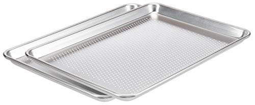 AmazonCommercial Perforated Aluminum Baking Sheet Pan, 1/2 Sheet, 17.8 x 12.9 Inch, Pack of 2