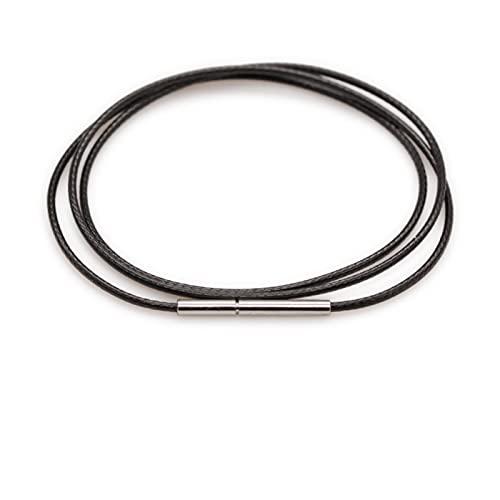 YCZOD Collar Cadena de Encaje de Cuerda de Cuerda con Hebilla giratoria, Adecuado para Hacer Joyas Black y Rojo marrón Bricolaje Pulsera (Color : A 1.0mm, Size : 50cm (20 Inches))