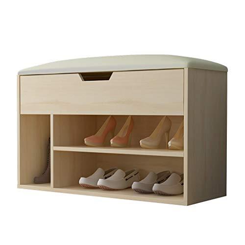 Aveo Zapatero Pasillo de Entrada Simple Zapatero Uso en el hogar Taburete for Zapatos Almacenamiento, Asiento Suave de PU (Color Madera) Zapatera