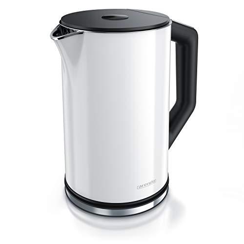 Arendo - Edelstahl Wasserkocher mit Temperatureinstellung 40-100 Grad in 5er Schritten - Doppelwand Design - Modell ELEGANT - 1,5 Liter - 2200 W - Teekocher mit Temperaturanzeige - GS - Polarweiß