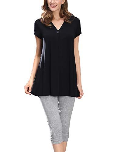 COLORFULLEAF WomensPajamasSet Short Sleeve Sleepwear Tunic Top & Capri Pants Loungewear Pjs Sets (Black, L)