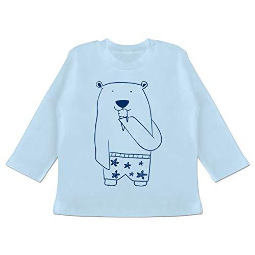 Bunt gemischt Baby - Süßer Bär in Badehose - 18/24 Monate - Babyblau - Baby - BZ11 - Baby T-Shirt Langarm