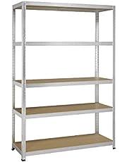 Avasco 175 Strong rek van metaal/hout, opsteekmechanisme, met 5 legplanken, helder, gegalvaniseerd, transparant, 5400431615005