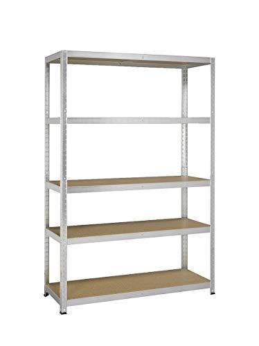 AVASCO Strong 175 - Scaffale in metallo/legno, per carichi pesanti, fissabile tramite clip, 5 ripiani, dimensioni: 176 x 120 x 40 cm, galvanizzato
