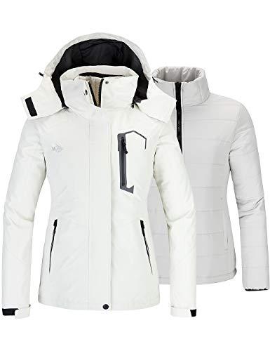 Wantdo Women's Winter 3 in 1 Ski Jacket Outdoor Puffer Coat White Medium