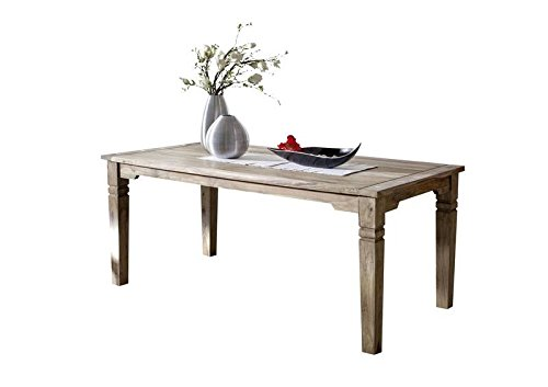 MASSIVMOEBEL24.DE Möbel massiv Holz Palisander geölt grau Esstisch 180x90 Sheesham Kolonialstil Massivholz Möbel LEEDS #51