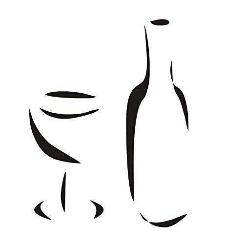 Art de tatouage mural, autocollants muraux pour carreaux de cuisine, un verre à vin et une bouteille facile à coller décorations décoratives bricolage acrylique fond romantique salles de bains