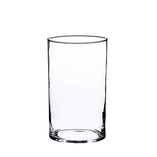 INNA-Glas Zylinder Vase Sansa, transparent, 15cm, Ø 10cm - Windlicht - Tischvase