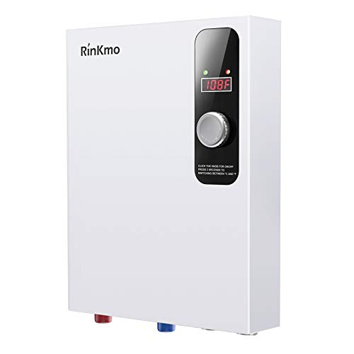 Rinkmo Electric Tankless Water Heater - 24KW 240V Instant On Demand Residential Electric Hot Water Heater for Bathroom Bathtub Whole House Shower Sink Small