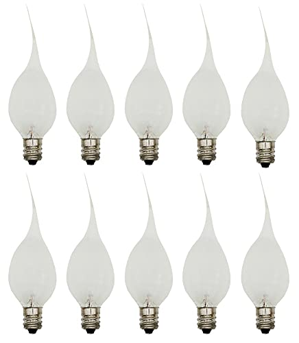 Creative Hobbies Silicone Dipped, Country Style, Electric Candle Lamp Chandelier Light Bulbs, 7 Watt , Individually Boxed, Wholesale Pack of 10 Bulbs