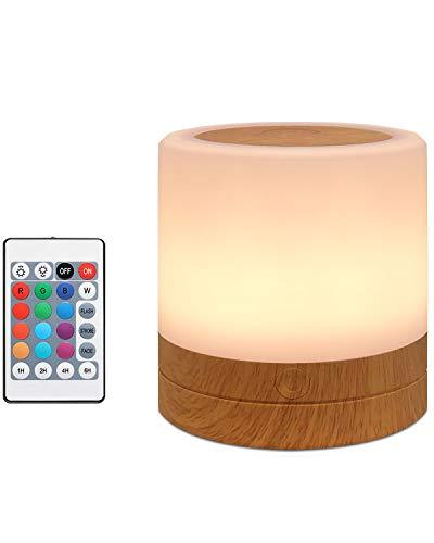 salipt Mini LED Nachttischlampe, 13 Farben und Farbwechsel, Dimmbar Atmosphäre Tischlampe mit Warmweißem Licht, Tragbar, Berührungssensitives Nachtlicht für Schlafzimmer Wohnzimmer und Büro