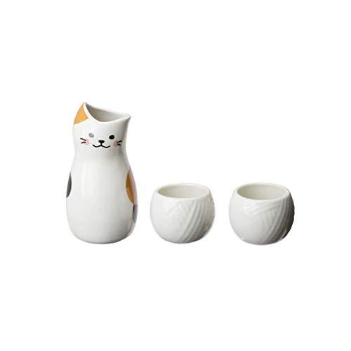 hongbanlemp Vasos japoneses de Sake 3 Piezas Set Blanco Cerámica Sake Cup Japanese Sake Set Crafts Sake Take FRÍO/Caliente/Tea/Sabre LA CABA CABA JOBLE Sake Set Imitation Cat Wine Pot Juego de Sake