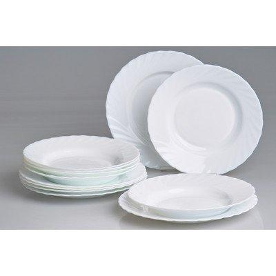 Tafelservice 12 Teller für 6 Personen aus Opalglas weiß Trianon
